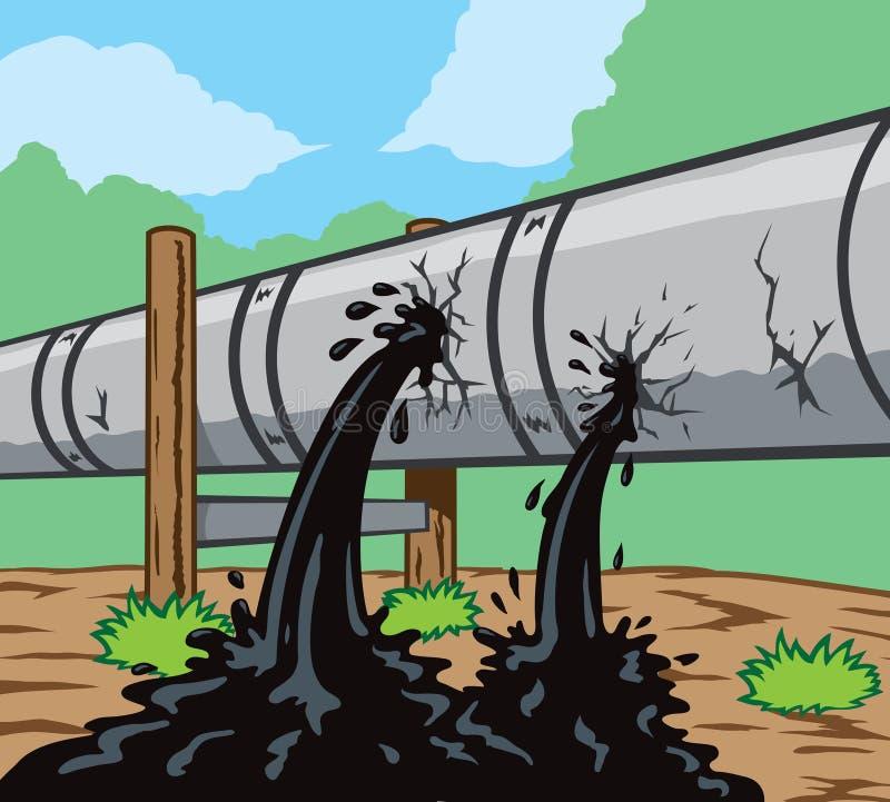 Pipeline Leak. Illustration of a dreaded pipeline leak stock illustration