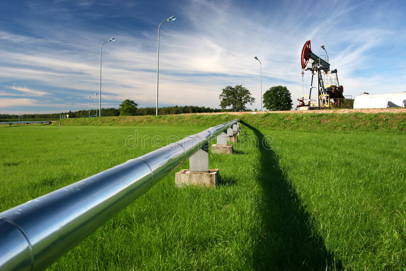 Pipeline and oil pump stock photography
