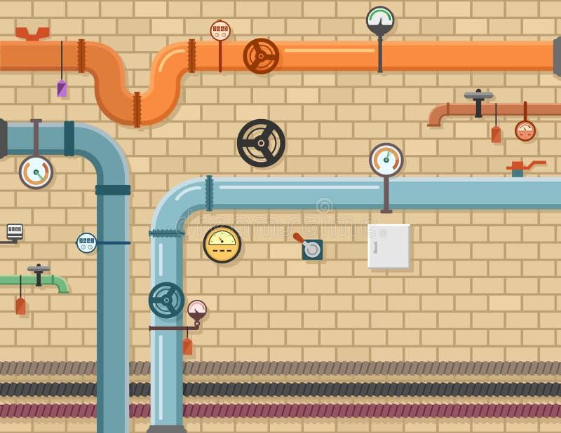 Pipeline plumbing background stock illustration