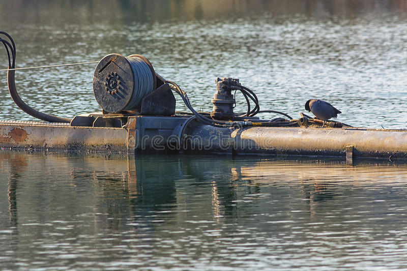 Pipeline on a pontoon stock photography