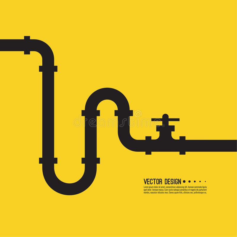 The pipeline with stopcock. Fittings and valves. Vector illustration stock illustration