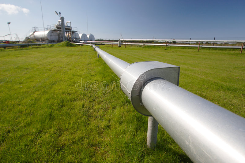 Pipeline and storage tanks stock images