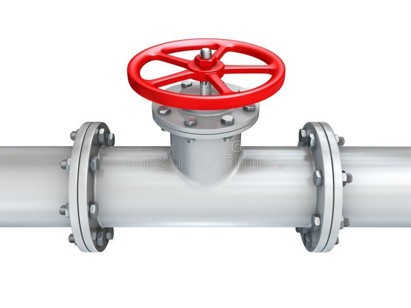 Pipeline valve. Valve on pipeline close up royalty free illustration