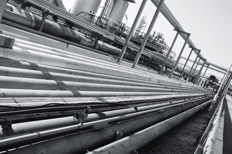 Pipelines in metallic silver royalty free stock image