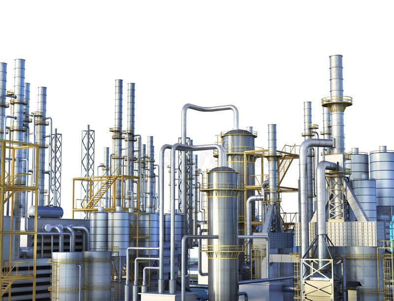 Pipelines of a oil and gas refinery industrial plant. vector illustration