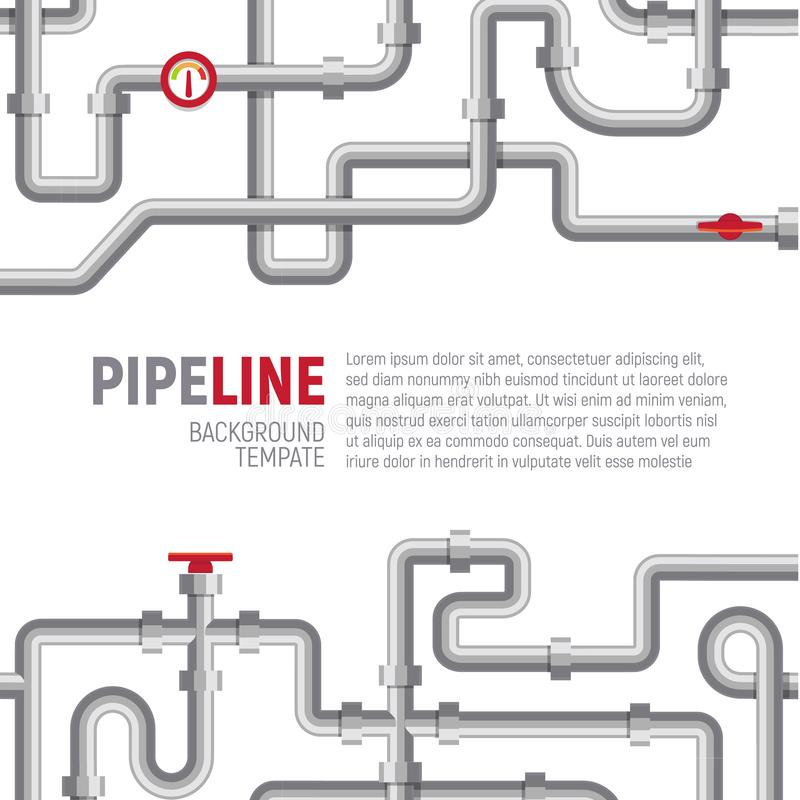 Pipelines poster concept. Pipes pattern, boiler room, piping, plumbing banner design template for marketing, social. Media, advertising, interior or web. Vector vector illustration
