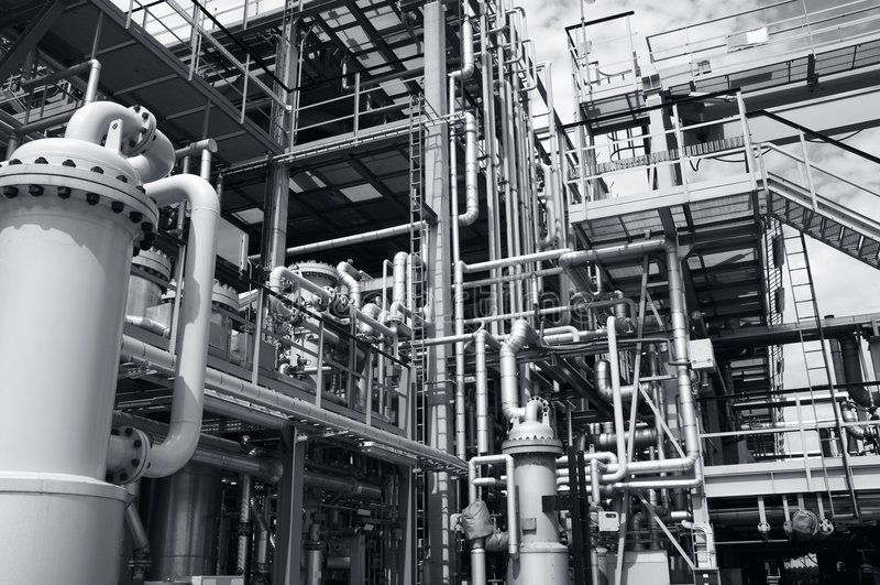 pipelines raffinaderit arkivfoton