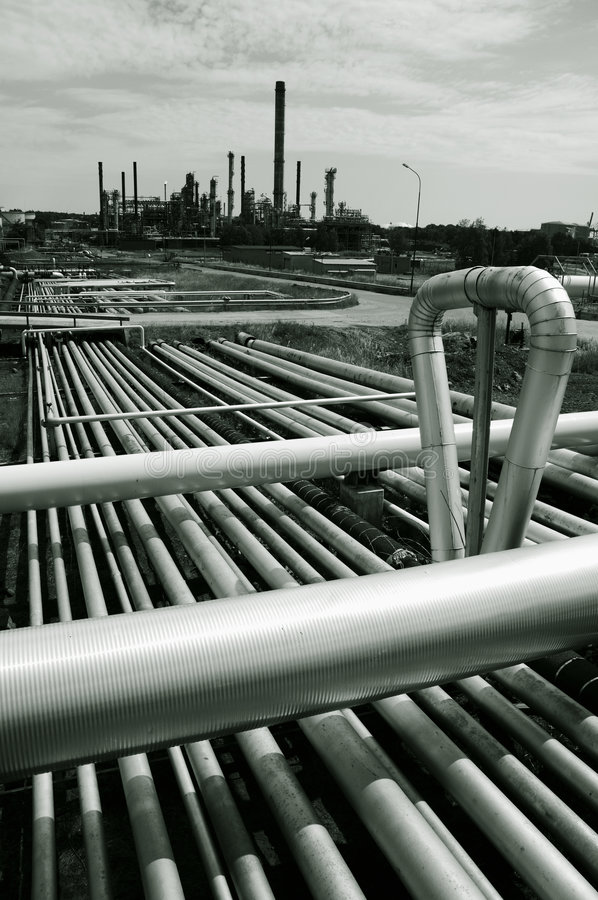Pipelines and refinery royalty free stock image