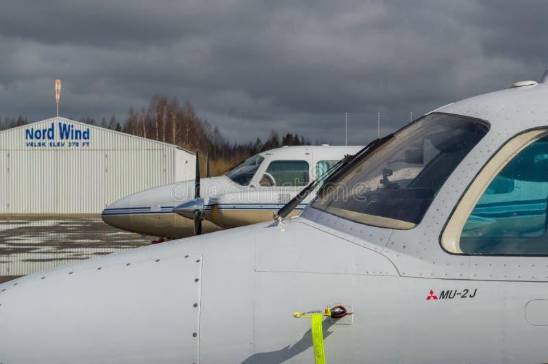 Piper Navajo PA-31 and Mitsubishi MU-2J stock photography