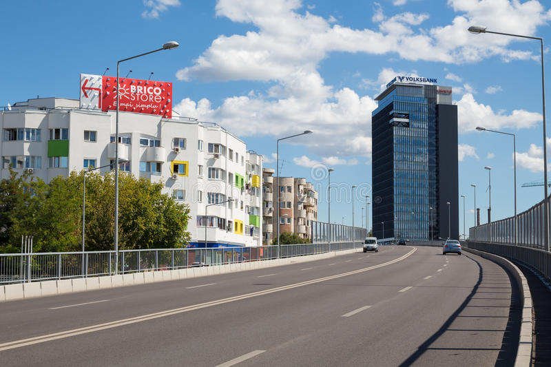Pipera passage. That crosses over Barbu Vacarescu street and the Bucharest - Constanta railroad . Entrance from Nicholas Caramfil street (Chinese Embassy) royalty free stock image