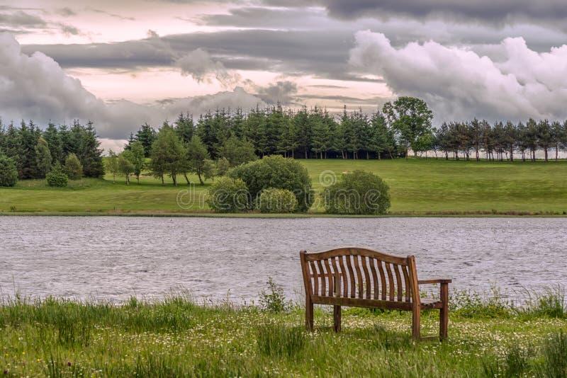 Piperdam sjö och en isolerad stol i Skottland royaltyfri fotografi