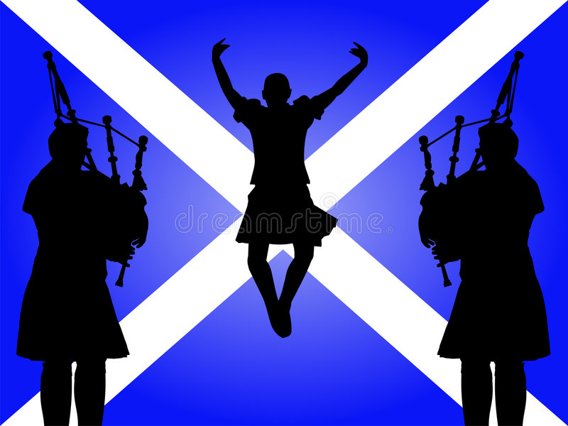 Pipers and highland dancer royalty free illustration