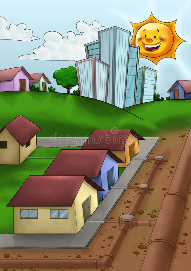 Download Pipes in the city stock illustration. Illustration of home - 25233379