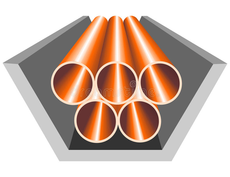 Pipes in concrete casing. Abstract pipes logo in vector illustration. Copper pipes, arranged in reinforced-concrete casings stock illustration