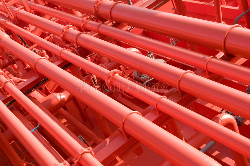 Pipes on the deck of the tanker. Grude oil ship royalty free stock photos