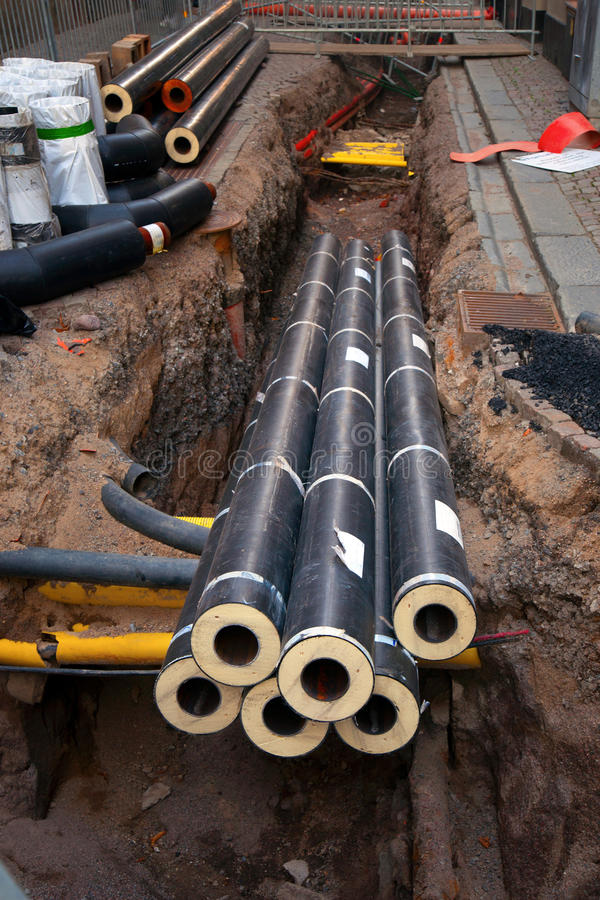 Download Pipes In Dug Up Street Stock Image - Image: 21410311