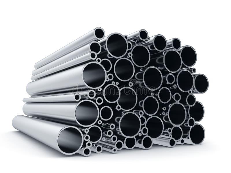 Pipes en métal sur le fond blanc illustration stock