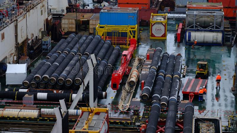 Pipes for gas pipeline. Welded Pipes for Turkish stream gas pipeline on stacker deck stock photos