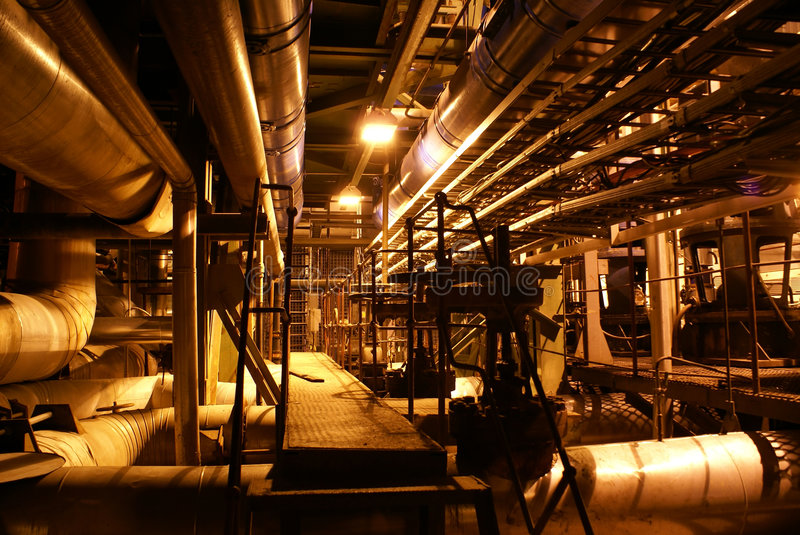 Pipes inside energy plant stock photo