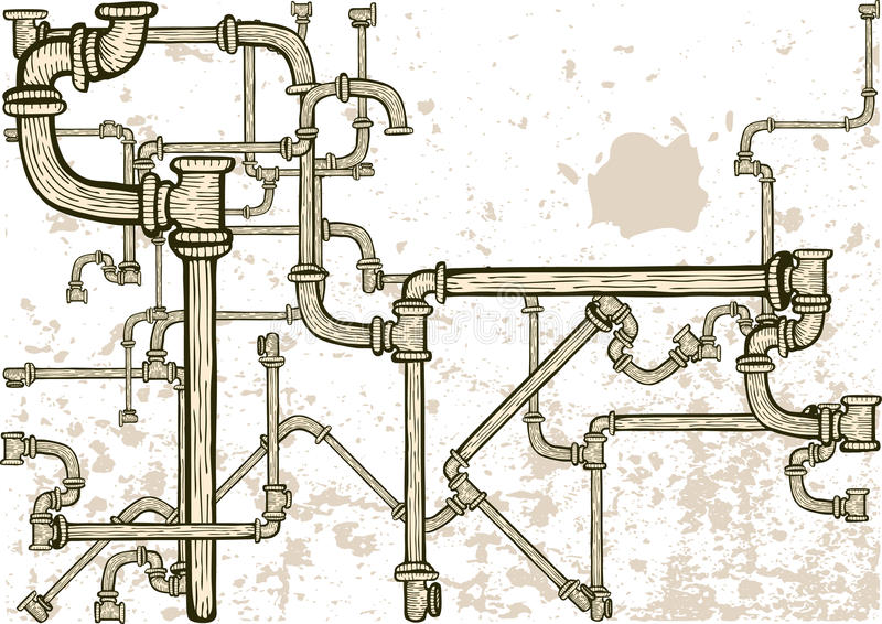 Pipes labyrinth. With grungy background vector illustration