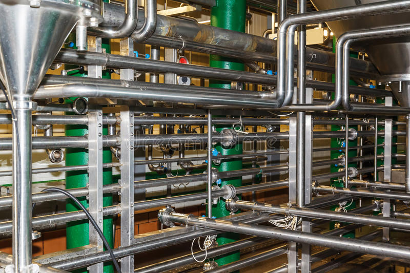 Pipes, tanks for the food industry stock photos