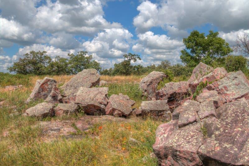 Pipestone Krajowy zabytek w Południowo-zachodni Minnestoa fotografia royalty free
