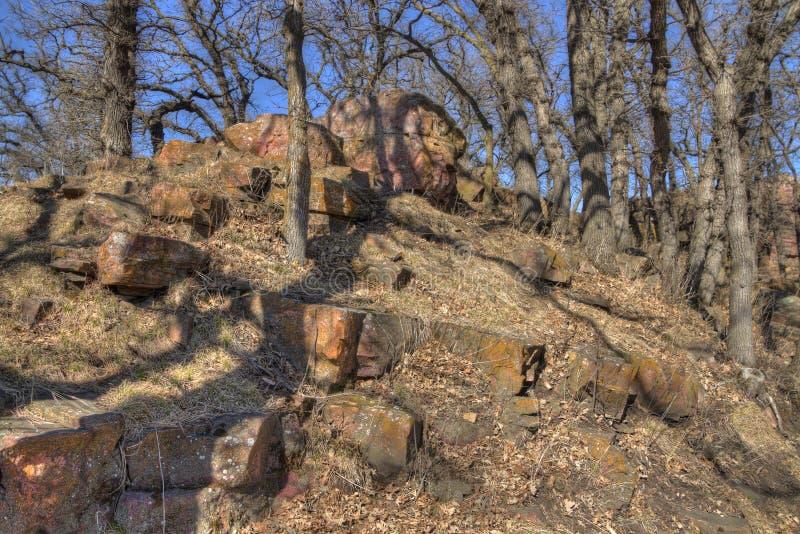 Pipestone Krajowy zabytek w Południowo-zachodni Minnestoa obrazy stock