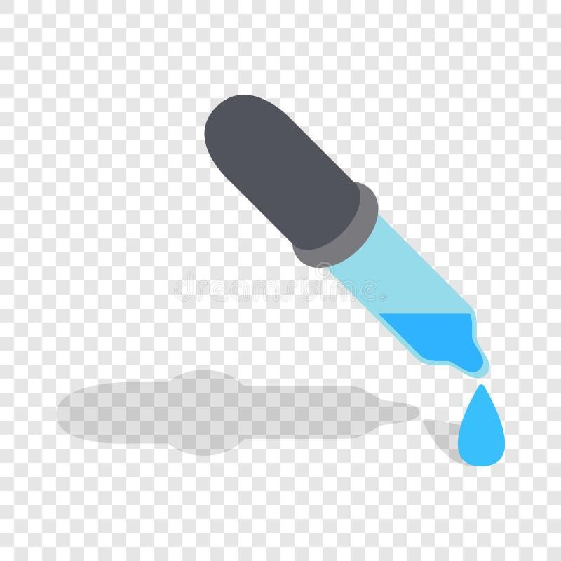 Pipeta com ícone isométrico das gotas ilustração royalty free