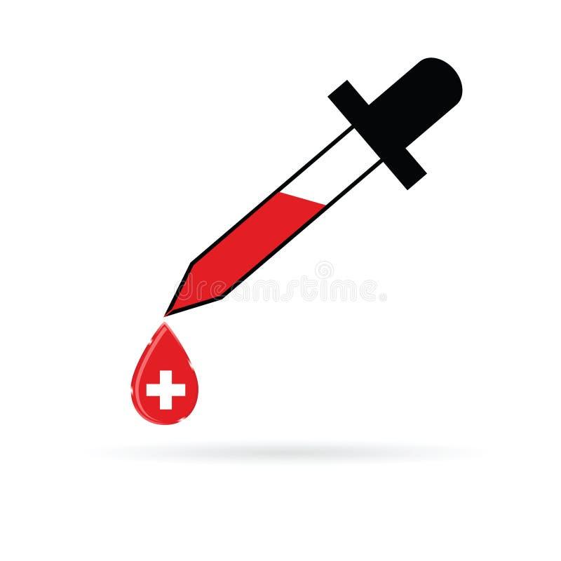 Pipeta com cruz vermelha ilustração royalty free