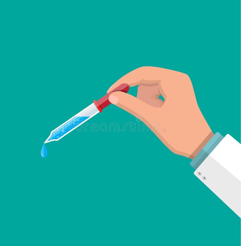 Pipeta com gota no doutor das mãos ilustração royalty free