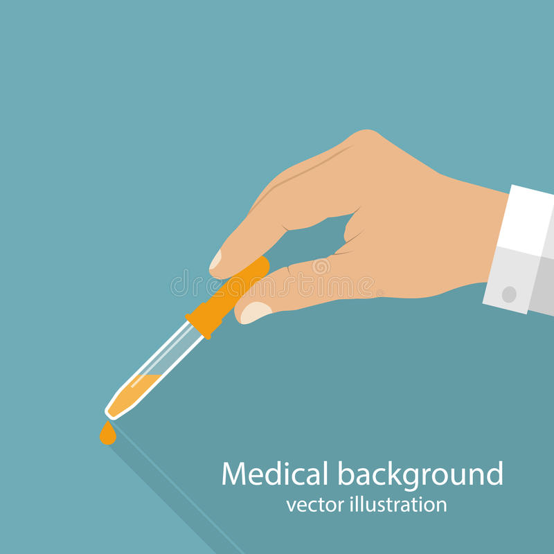Pipeta en doctor de las manos ilustración del vector