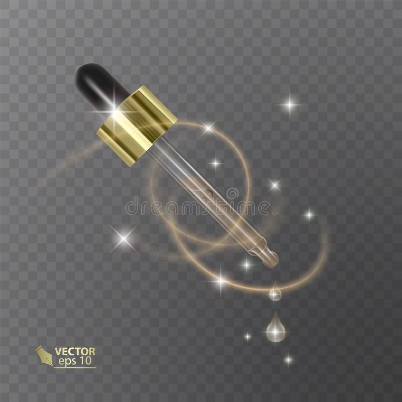 Pipeta realística no fundo transparente Produtos cosméticos do molde com líquido Elemento para o projeto, anunciando ilustração royalty free