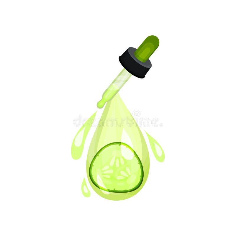 Pipeta z olejem, zieleni kroplami i plasterkiem ogórek, Wilgotnościowy produkt dla skóry opieki kosmetyk naturalny Płaska wektoro ilustracji