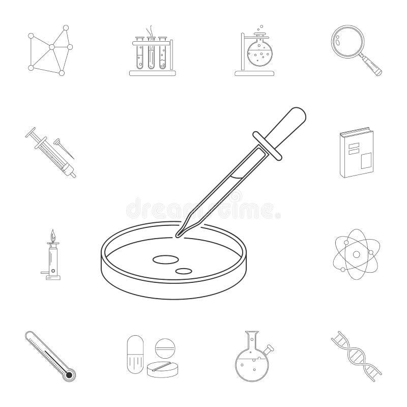 pipetta con l'icona di vetro del laboratorio Insieme dettagliato delle illustrazioni di scienza Icona premio di progettazione gra royalty illustrazione gratis