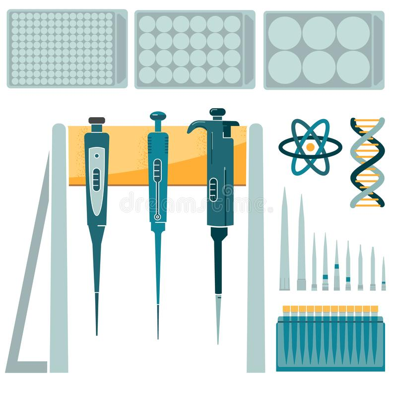 Pipetta del laboratorio ed insieme delle punte di volume differente illustrazione di stock
