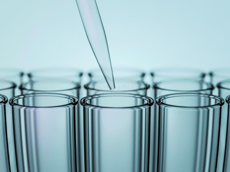 Pipetta del laboratorio sopra le provette di vetro 3d illustrazione vettoriale