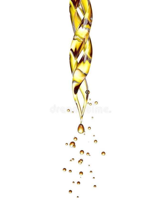 Pipetta di vetro trasparente con una sgocciolatura liquida dorata royalty illustrazione gratis