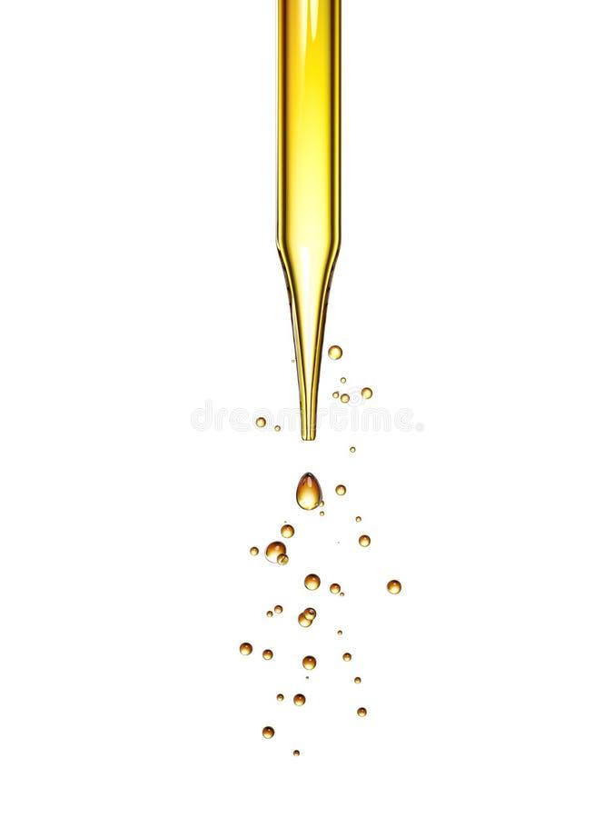Pipetta di vetro trasparente con una sgocciolatura liquida dorata illustrazione vettoriale