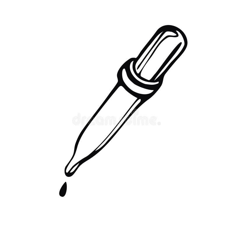 Pipetta disegnata a mano Vector l'immagine lineare sull'argomento di medicina, di medicina e di salute royalty illustrazione gratis