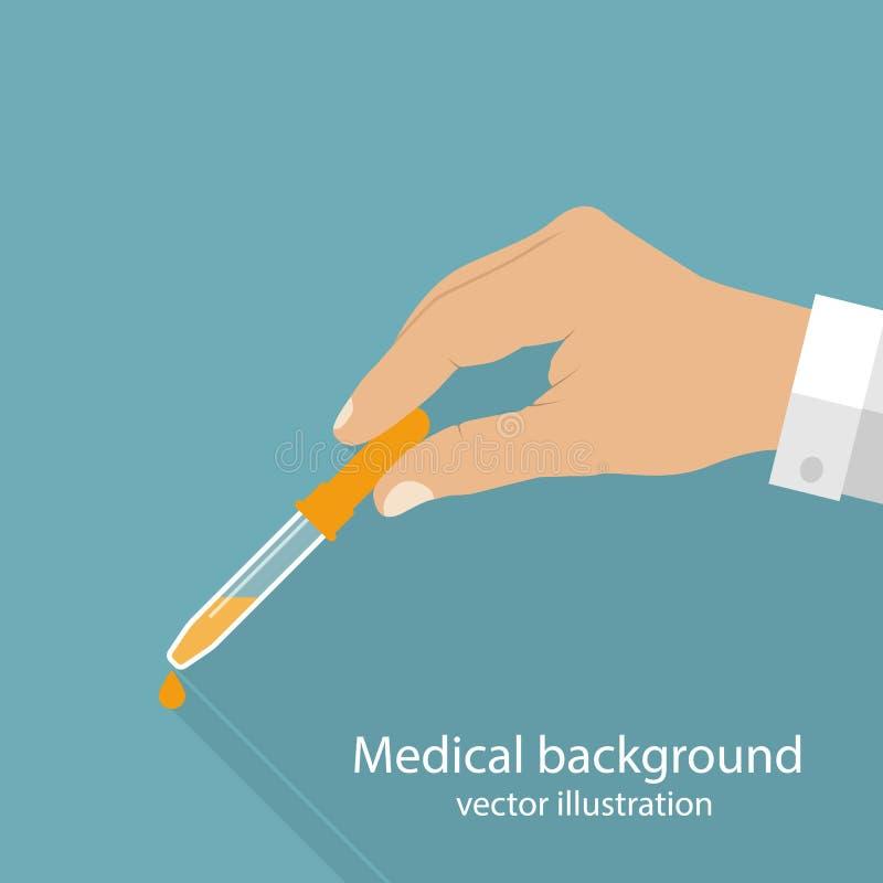 Pipetta in medico delle mani illustrazione vettoriale