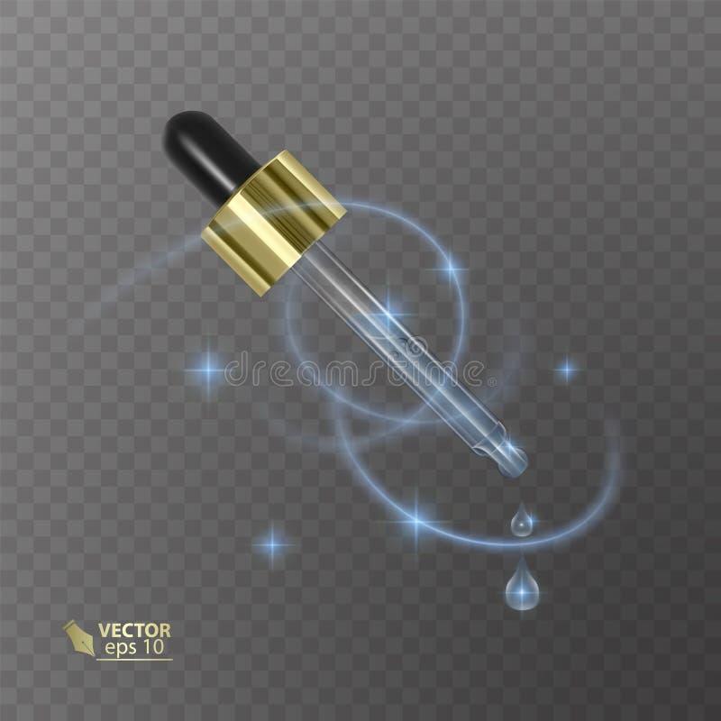Pipetta realistica sui precedenti trasparenti Prodotti cosmetici del modello con liquido Elemento per progettazione, annunciante illustrazione di stock