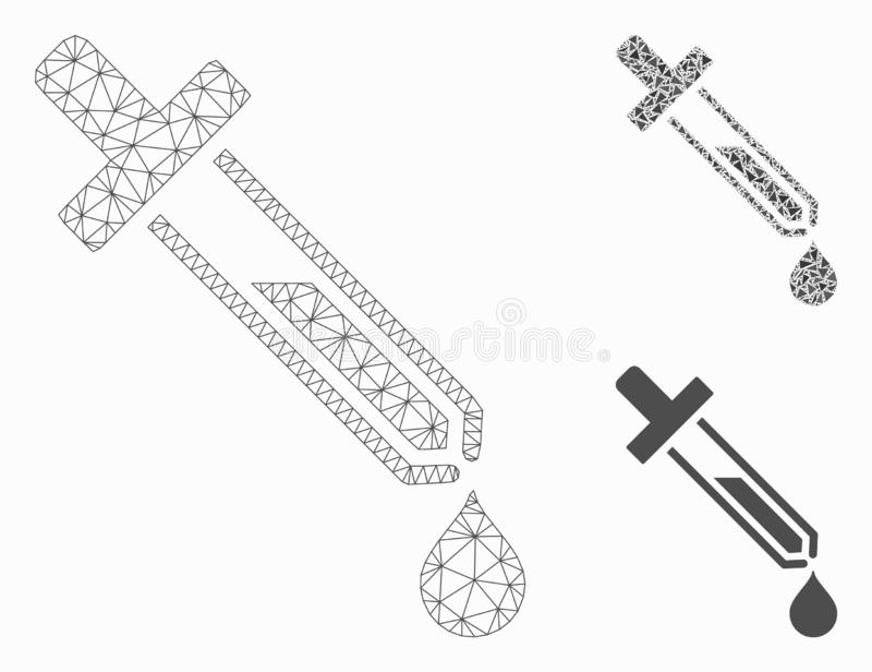 Pipette Vector Mesh Carcass Model and Triangle Mosaic Icon. Mesh pipette model with triangle mosaic icon. Wire carcass triangular network of pipette. Vector stock illustration