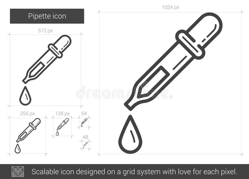 Pipettlinje symbol vektor illustrationer