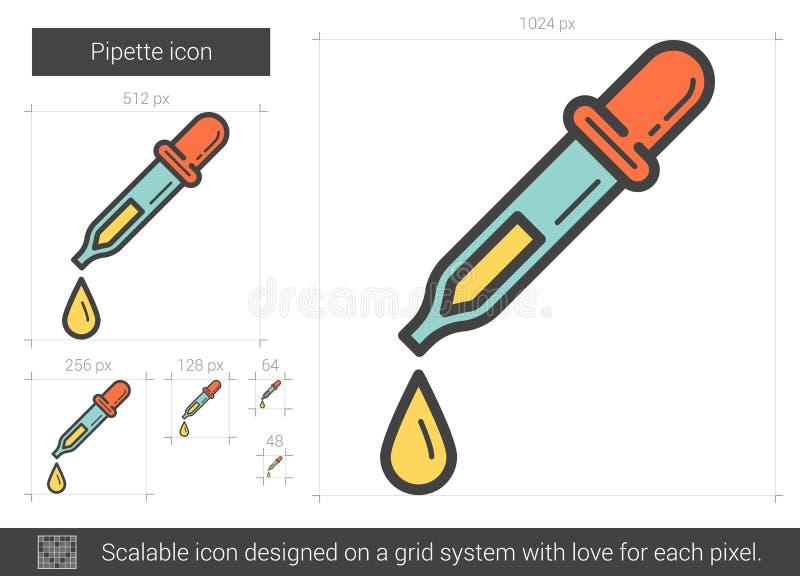 Pipettlinje symbol stock illustrationer