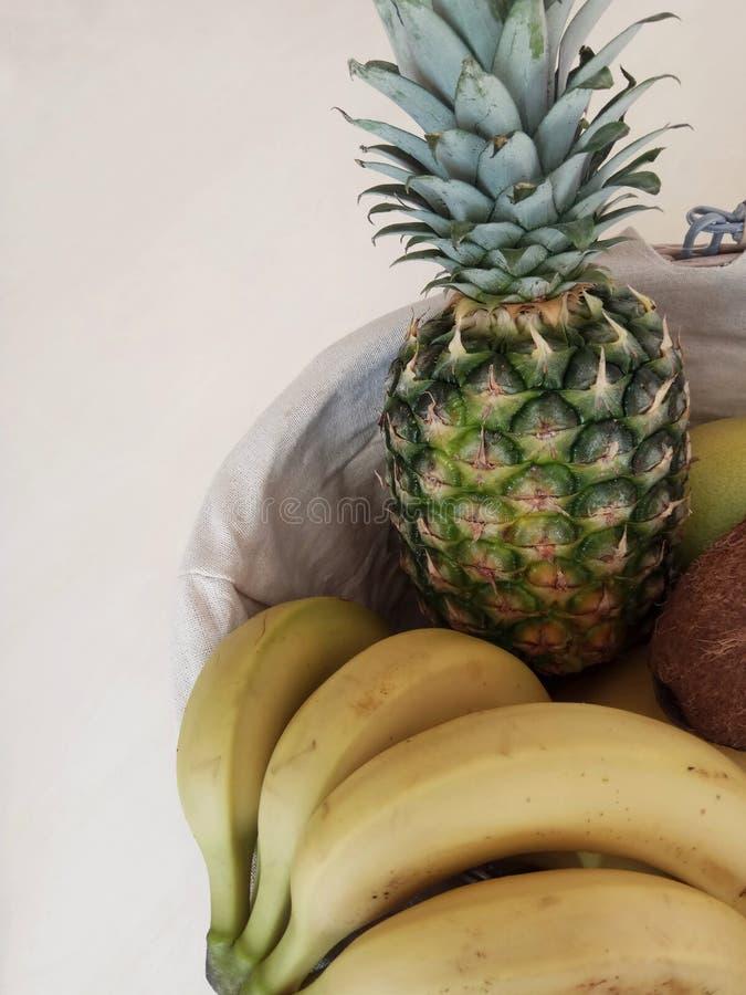 Pipineapple banana basket stock photo