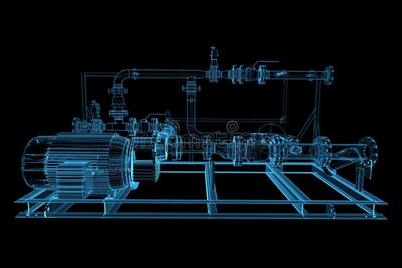 Piping. (3D xray blue transparent stock illustration