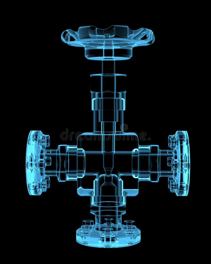 Piping. (3D x-ray blue transparent isolated on black stock illustration