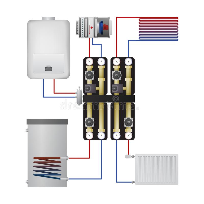 Piping condensing boiler. Vector illustration. Pump unit, steel panel radiator, heater, warm floor, air handler vector illustration