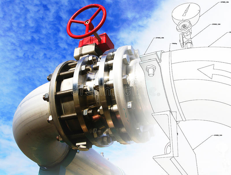 Piping design mixed with industrial equipment photo. Sketch of piping design mixed with industrial equipment photo stock illustration