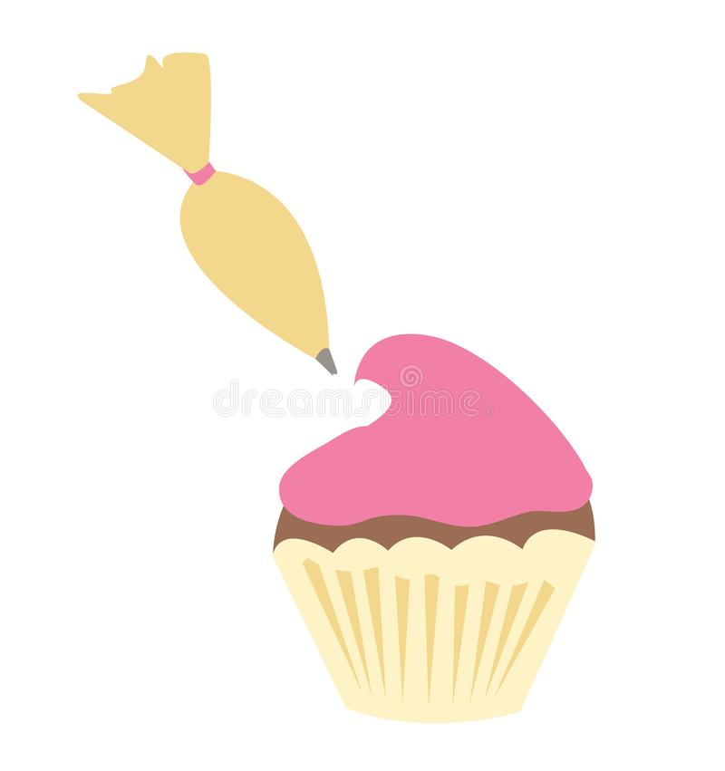 Piping a Cupcake. Piping icing onto a cupcake for bakers vector illustration